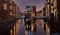 """Speicherstadt , Freeport """"Freihafen"""", Hamburg, Germany -30sec. Night Exposure (Final Version)"""
