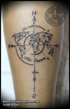 #Compass #World #Map #Geometric #Tattoo #Bangkok #Khaosan Rd. #Thailand Monster Ink Tattoo.Pang Khaosan Road. Bangkok Thailand T.+66 89-8126403 World Famous ink Tattoo machine LINE : PANG_ANTILIFE IG : MONSTER_INK.PANG PINTEREST : Pang Anti-Life