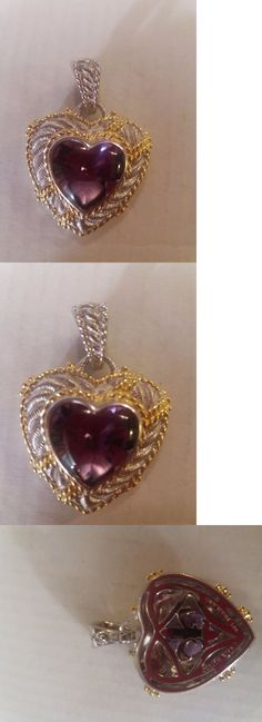 Other Fine Necklaces Pendants 164334: Judith Ripka Sterling And 14K Clad Amethyst Heart Enhancer Pendant New -> BUY IT NOW ONLY: $85.99 on eBay!