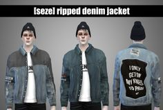 Sims 4 CC's - The Best: Ripped Denim Jacket for Males by S4Seze