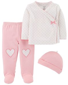 Baby Girl 3-Piece Footed Pant Set   Carters.com