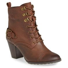 Women's Bella Vita 'Kennedy' Lace-Up Bootie ($135) ❤ liked on Polyvore featuring shoes, boots, ankle booties, brown leather, leather lace up booties, brown leather bootie, ankle boots, brown boots and leather booties