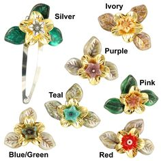 Handmade Ardent Designs Idril Gold and Glass Flower Hair Clips