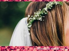 Full-Length Wedding Veil Simple veil with flowercrown by RoseDustBridal
