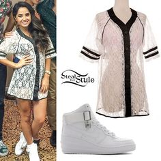 Becky G played a show in Miami yesterday wearing a pair of all-white   Nike Lunar Force 1 Sky Hi Women's Shoes   ($130.00) and a White Lace Baseball Jersey which is available at a few boutique stores including   Pop Of Junk   ($51.90),   Kloset Envy   ($55.00), and   Vixen Collection   ($58.00).