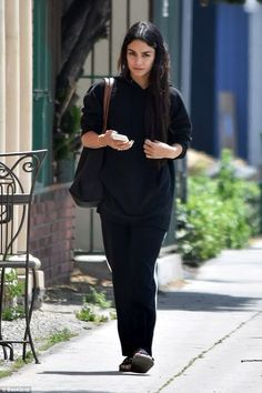 Changing it up: Vanessa Hudgens took a break from her usually very well planned ensembles ...
