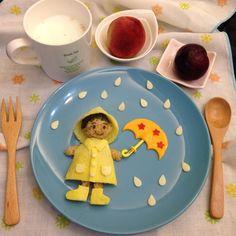 Little boy in his yellow mac food art by Sagnny (@sagnny)