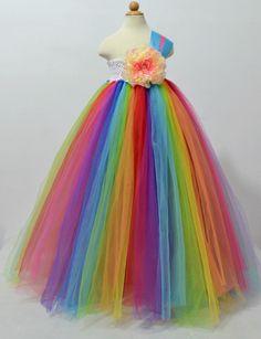 Handmade elegant flower girl tutu dress one shoulder mix color strap white crochet big flower corsage 8 color mix tulle dress
