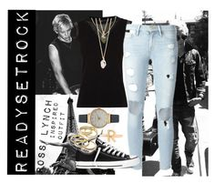 """""""Ross Lynch Inspired Outfit"""" by rock-sand ❤ liked on Polyvore featuring Karen Millen, Frame Denim, Converse, With Love From CA, Bjørg, Kendra Scott, Olivia Burton, R5, RossLynch and allblack"""