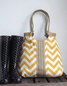 Welcome to MADE BY NANNA,    Yellow and white chevron Beautiful stylish carry on hobo bag  The zig zag screen printed bag is interfaced(padded,to m...