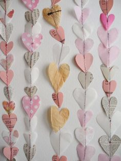 hearts garlands: use multiple layers of tissue paper to create dimension