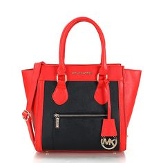 Michael Kors Selma Zipper Small Red Black Satchels, Your First Choice