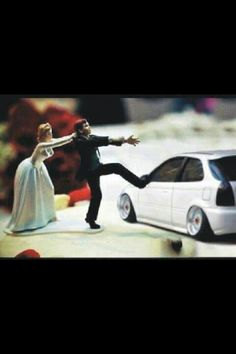 Honda... lmao... this will be my bro on his wedding day... lol.. and he just painted his hatch white...lol