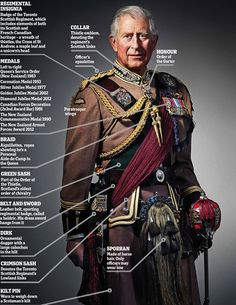 CHARLES, PRINCE OF WALES, IN FULL REGIMENTAL DRESS~ The prince wearing the regimental dress of the Toronto Scottish Regiment (Queen Elizabeth ...