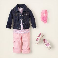 pretty in pink  pale pink is made for little girls and this stylish look features our utility pants and smocked floral top in the softest of shades.  we layer a must-have jean jacket on top for a little added edge!