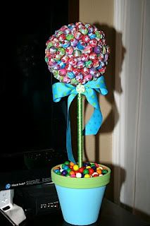 maybe have a lollipop tree for the candy bar?  Like the blue ribbon with the green polka dots on it at the tops hat if we did this with all blue & green lollipops?