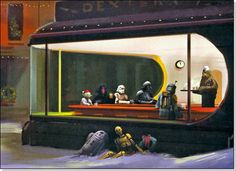 "Very, very cool - Star Wars through the Holidays. littleboneslou: "" dbsw: "" Star Wars through the Holidays This wonderful take on Edward Hopper's Nighthawks was done by Episode III concept designers. Star Wars Fan Art, Star Wars Love, Star Trek, Edward Hopper, Starwars, Natal Star Wars, Star Wars Christmas Cards, Holiday Cards, Christmas Eve"