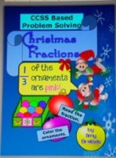 """Christmas Themed """"Color the Ornaments"""" Fraction Problem So"""