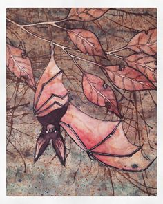 Bat painting taken from my sketchbook - Pen, ink & watercolour (rough ideas)