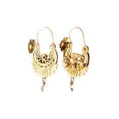 14K Pearl Floral Avian Motif Hoop Earrings Earrings ($695) ❤ liked on Polyvore featuring jewelry, earrings, 14 karat gold hoop earrings, earring jewelry, baroque pearl jewelry, hinged earrings and baroque pearl earrings