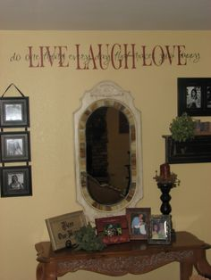 Vinyl Lettering Wall words Quotes decals  Live Laugh Love sticky letters. $18.99, via Etsy.
