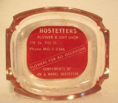 Advertising Ashtray Clear Glass Hostetters Flower & Gift Shop Manheim Area #Unmarked