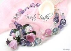 ~~✿ WINTER PASTELS ✿~~ by DS-Designs, Bracelet, Lampwork Beads, Flowers, Blossoms, pink, purple, violet, One of a Kind, Glass, Art, Jewelry, Artist, Armband, Künstlerperlen, Glasperlen, Blumen, Blüten, rosa, lila, violett, Unikat, Schmuck, Designer, Designerschmuck