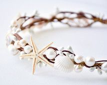 Seashell crown, Beach wedding hair accessories, Bridal headband, Rustic headpiece, Starfish tiara - ARIEL