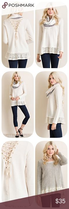 Today Only Ribbed Top with Eyelet Trim Gorgeous top!  Natural colored ribbed long sleeve top featuring eyelet trim on hem and contrast on the back with lace up detailing. Non-sheer. Unlined. Knit lightweight sweater material.  (Scarf not included) Content: 100%RAYON Sweaters