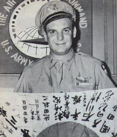 Actor Jackie Coogan -  In uniform before Pearl Harbor, Jackie Coogan transferred to the Air Force, won the Air Medal as a glider pilot in Burma, where he got this Japanese flag.