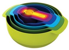 Save space with these nesting bowls - perfect for camping and RVs! // Joseph Joseph® Nest Plus 9 Piece Nesting Mixing Bowls and Measuring Set // #kitchen #camping #organization / AD