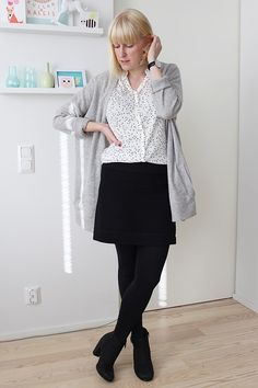 Polka dot blouse and black mini skirt / Kotisaari blog