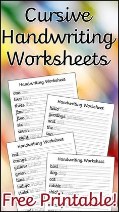 A set of 10 cursive worksheets to help your child improve their handwriting. Includes letters, common words, and a blank lined sheet for them to write their own sentences. Cursive Handwriting Practice, Cursive Writing Worksheets, Improve Your Handwriting, Handwriting Analysis, Teaching Cursive Writing, Improve Handwriting Worksheets, Handwriting Activities, Writing Practice For Kids, Cursive Writing Practice Sheets