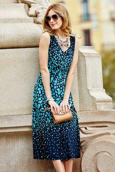V Neck Square Print Dress, $99