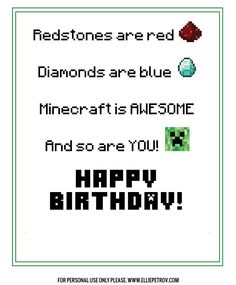 A free, printable Minecraft birthday card that is perfect for the little gamer in your life! Birthday Cards For Brother, Kids Birthday Cards, Funny Birthday Cards, Boy Birthday, Birthday Ideas, 12th Birthday, Husband Birthday, Happy Birthday, Birthday Cake