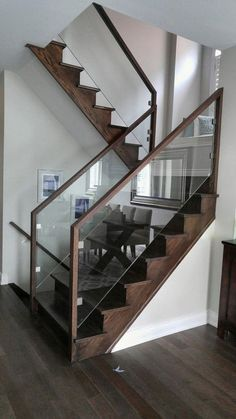 Modern Staircase Design Ideas - Browse images of modern stairs as well as uncover design and format ideas to influence your very own modern staircase remodel, consisting of one-of-a-kind barriers as well as storage . Modern Stair Railing, Stair Railing Design, Stair Handrail, Staircase Railings, Modern Stairs, Glass Stair Railing, Metal Stairs, Glass Balustrade, Bannister