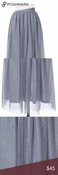SPARKLY HOLIDAY Blue Glitter Tulle Skirt NWT Super cute tulle skirt!  This would look great paired with a lace crop top and silver jewelry. Elastic waistband and flowing tulle covered in fine glitter. unbranded Skirts A-Line or Full