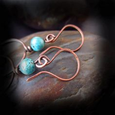 Rustic Turquoise and Copper Hoop Earrings Wire by HopeCreations Hammered Copper, Antique Copper, Jamaican Colors, Handmade Jewelry, Unique Jewelry, Handmade Gifts, Wire Wrapped Jewelry, Wire Wrapping, Hoop Earrings