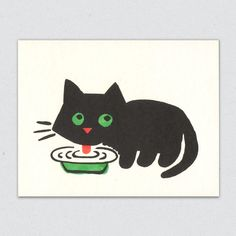 Buy Maria black cat greeting card by Lisa Jones Studio at Soma Gallery, Bristol. Lisa began designing and hand-printing her own range of gorgeous cards with the help of her partner, Edward, in their London studio way back in Cat Greeting Cards, Drawings, Cat Art, Illustration Art, Art, Cat Cards, Cat Drawing, Prints