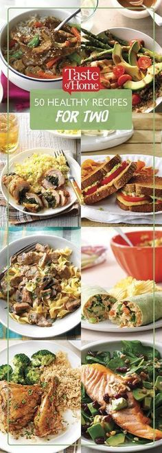Healthy Meals For Kids 50 Healthy Recipes That Serve Two - Cook up a healthy and satisfying dinner without all the extra leftovers. These healthy recipes for two are perfect for the job! Healthy Chicken Dinner, Healthy Meals For One, Heart Healthy Recipes, Healthy Cooking, Healthy Dinner Recipes, Easy Meals, Healthy Eating, Easy Cooking, Cooking For Two