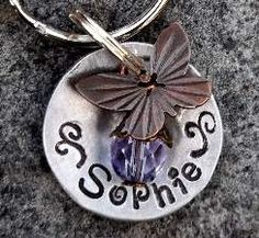 Small Collar Tag Butterfly Kisses Pet ID by FetchAPassionTags, $8.00