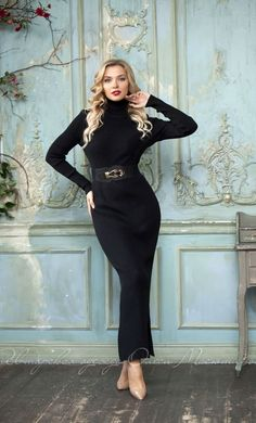 Knitted maxi dress by Olesya Masyutina. Classic black dress, ankle length dress, warm stand-up collar, small slit, Warm dress, comfortable dress, elastic dress. 800 models of knitted and fabric women clothes in casual style, evening and wedding.
