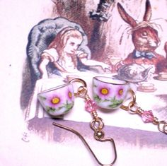 Porcelain Tea Cup Earrings Alice in Wonderland by LynnetteJewelry, $18.00
