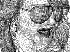 Gradient mesh is very well done and even adding a reflection in her glasses was very innovative it adds more character Cross Contour Line Drawing, Ap Drawing, Drawing Lessons, Art Lessons, Contour Drawings, Drawing Faces, Drawing Tips, High School Drawing, Gradient Mesh