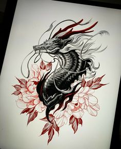 🐉🌺 Artwork b Asian Tattoos, Dope Tattoos, Body Art Tattoos, Small Tattoos, Japanese Dragon Tattoos, Japanese Tattoo Art, Japanese Tattoo Designs, Dragon Tattoo Drawing, Dragon Sleeve Tattoos