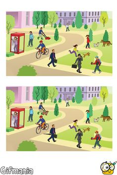 spot 7 differences in the park Spot The Difference Printable, Spot The Difference Kids, Kids English, English Lessons, Worksheets For Kids, Craft Activities For Kids, Hidden Pictures Printables, English Moral Stories, Reto Mental