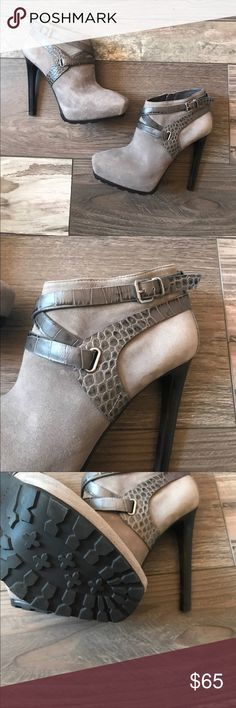 NWOT Guess Gray Booties These are new and have never been worn. Size 7. Gorgeous suede and reptile skin. Super sexy heel with silver buckles. Heel is 5 inches high. Zipper on the inside for easy use 💋💋 Guess Shoes Ankle Boots & Booties