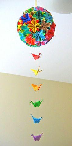 Artikel ähnlich wie Large Colourful Kusudama Origami Ball auf Etsy Origami Ball, Diy Origami, Origami Arco Iris, Rainbow Origami, Origami Modular, Origami And Quilling, Origami And Kirigami, Origami Paper, Diy Paper