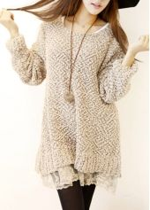 Woman Essential Long Sleeve Khaki Dress with Lace