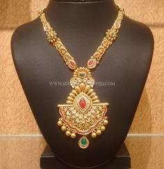 Gold Long Haram with Floral Pendant ~ South India Jewels Fancy Jewellery, Gold Jewellery Design, Gold Jewelry, Gold Necklace, Diamond Jewelry, Antique Jewelry, Jewelery, Gold Chain Design, Gold Ring Designs